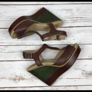 SPLENDID Kane Two Tone T-Strap Wedge Sandals